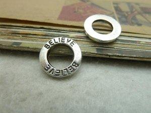 Wholesale-50Pcs Antique Silver believe Circle Charm Pendant Jewlery Making