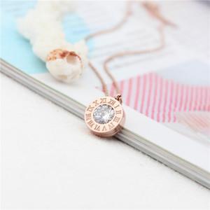 316L donna in acciaio in titanio donna elegante collana design pendente con diamante numero romano gioielli di marca per donne e ragazze PS5036