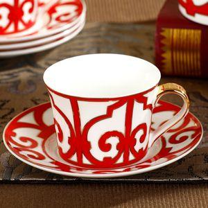 Großhandel-ceram Becher Mode england Kaffeetasse Untertasse set Tasse Platte Knochen china Keramik hohe Qualität Hause Freizeit verwenden