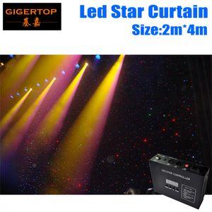 2M * 4M 160pcs LED Étoile Tissu, 90V-240V LED Mariage Arrière-plans LED Unique Couleur Étoile Tissu Avec Contrôleur Ignifuge Tissu Étoile Effet Brillant