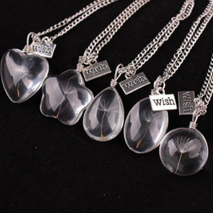 Collares Deseos Collar Colgante para Girs Real Dandelion Crystal Colgantes Redondos Cadena de Plata Collares Para Las Mujeres Joyería Al Por Mayor 0433WH
