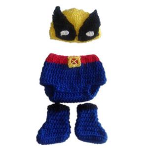 Super Cool Superhero nouveau-nés tenues, chapeau fait à la main bébé garçon fille Wolverine chapeau, couvre-couche et bottes ensemble, accessoires de photographie pour bébé