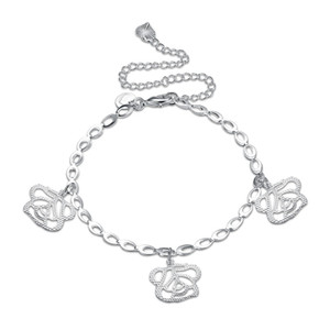 La cavigliera operata d'ottone classica di fascino del fiore della catena del metallo d'ottone placcato argento femminile per i piedi libera il trasporto