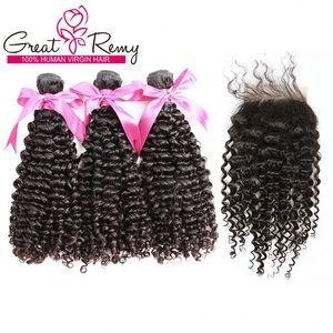 Волосы пучков с верхней крышкой Buy 3шта утки волос Получить 1шт Свободного фронта шнурок Закрытие малазийского Deep Curly Wave Human Remy волос Плетение