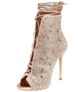 2017 stivaletti donna stivaletti strass punta peep diamond stud gladiator bota donna lace up stivaletti partito scarpe