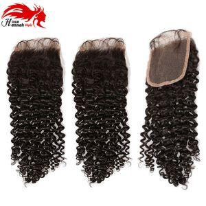 Hannah Продукт Перуанские волосы Deep Curly Wave Clace 4 * 4 Бесплатная доставка Швейцарский кружевной зажим Remy Hair Shipping Free