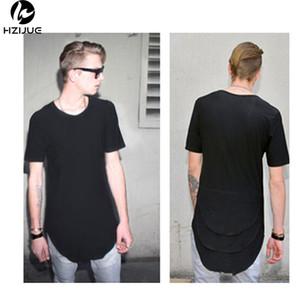 camisa T estendida Mens Fishtail multi Dobre Curvo Hem Side Zipper manga curta com palangre de Hip Hop WEST T topos para o sexo masculino