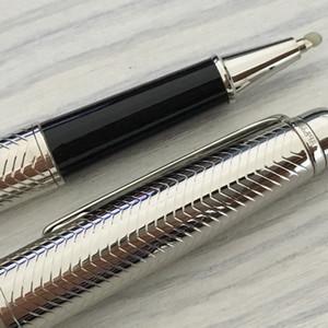 Luxo caneta MT W textura prata caneta de metal estacionária suprimentos caneta esferográfica para presentes com número de série