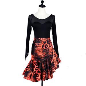 Latin Dance Kleid Frauen Salsa Kleid Tango Samba-Kostüm-Hemd-Rock-Satz D0214 Lange Net Hülse gekräuselte Hem