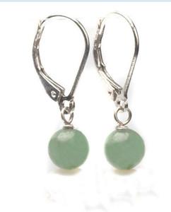 Genuino verde claro Jade 925 Sterling Silver Lever Back Earring envío gratis