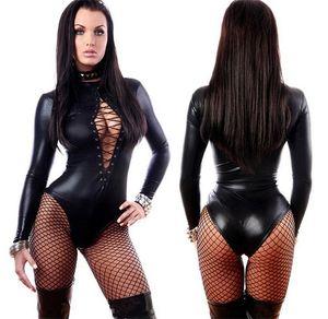 Mujeres Negro Bodysuits Lencería Sexy Slave Maids Mujeres Prisoners Uniform Temptation Pirate Clothes Unitard Spandex Catsuit Babydoll Lencería