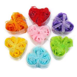 savon fleur forme de coeur fait à la main rose savon pétales rose fleur papier savon mélange couleur (3pcs = 1box)