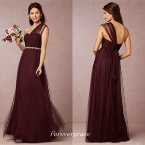 Elegant Cheap Burgundy Bridesmaid Dress One Shoulder Crystals Beaded Maid of Honor Dress Wedding Guest Gown Custom Made Plus Size