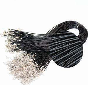 100 adet 1.5mm Siyah Wax Deri Yılan zincirler bilezikler Boncuk Kordon Dize Halat Tel 45 cm + 5 cm Genişletici bilezik ChainLobster Toka DIY