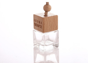 50Pcs Free DHL Empty Glass Bottles Perfume Diffuser Bottles Car Hanging Dffuser Glass Bottle Square Car Diffuser Bottles with Wooden Cap