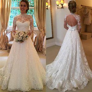 Свадебные платья с высокой горловиной и спиной с длинным рукавом с бантом Пояс с кружевной линией Романтические 2020 Новые свадебные платья Нестандартного размера