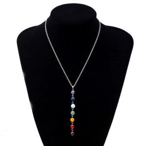 Wholesale-Durable Fashion Necklace 7 Chakra  Pendant Chain Necklace Yoga Reiki Healing Balancing For Women