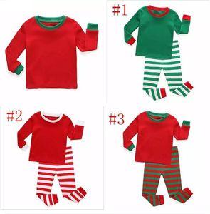 Осень Зима Малышей Дети с Длинным Рукавом Красный Комплект Мальчики Девочки Полосатые Наряды Рождество Пижамы Пижамы Набор