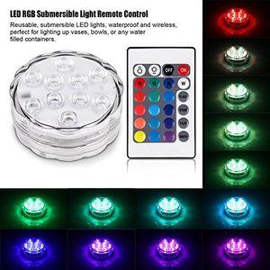 Umlight1688 수중 LED 조명 원격 배터리 전원을 사용하는 Qoolife RGB 멀티 색상 변경 방수 빛 꽃병 자료, 꽃,