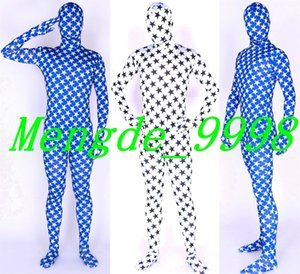 Сексуальный синий и белый пятиконечная звезда костюм костюмы унисекс лайкра спандекс необычные звезды боди комбинезон костюмы Хэллоуин косплей костюм M107