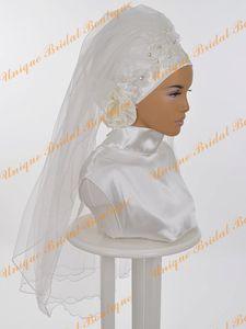 Свадебная фата Саудовской Аравии 2019 года с ручными цветами и обрезанными краями Реальные фото Аппликации Тюль Романтическая мусульманская свадьба хиджаб для исламских женщин