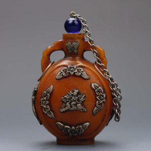 Vintage Oriental Folk Art Collection Old Chinois Beeswax Inlaid avec Tibet Silver Flower Dragon Snuff Bottle G164