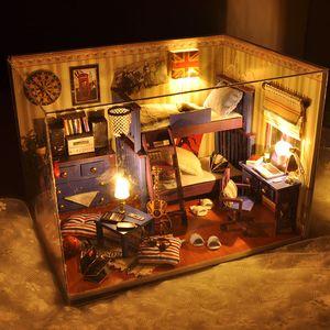 Atacado-2016 New Home Decoração Artesanato Diy Casa de Bonecas Casas de Madeira Casa de Bonecas Em Miniatura Kit de Mobiliário Itens do Quarto Luzes Led Presente Tw4