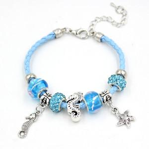 Nouvelle Arrivée Lampwork Perle Bracelet Lumière Bleu En Cuir Corde avec Sealife Starfish Mer Cheval Charme Bracelets pour Femmes Bijoux Cadeau Pulsera