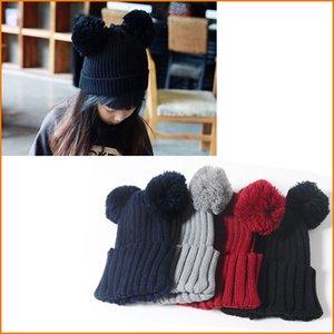 Çocuklar Sevimli Kış Şapka, Kız Erkek Çift Topları Sıcak Kış Örme Kap, Şapka Çocuk Çocuk Şapka, 4-10 Yaşındaki Çocuk Için