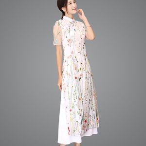 lungo qipao Pizzo Abiti tradizionali cinesi Shanghai Story cinese Cheongsams abiti stile orientale Aodai 2 colori