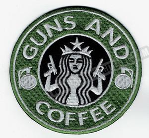 Commercio all'ingrosso PISTOLA Caffè ricamato ferro sulla zona militare tattico distintivo qualsiasi indumento Vest Rider Patch fai da te di Applique ricamo Patch