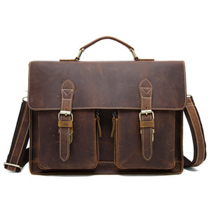 retro leather handbag 9033 Top layer cow leather one shoulder business laptop bag 4 color OEM available