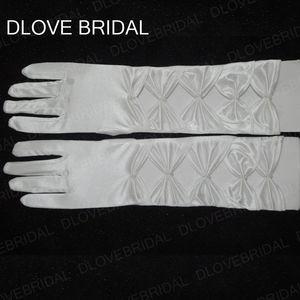 Guanti da sposa in raso bianco pieno dito gomito lunghezza abito da cerimonia nuziale accessorio decorazione lunga usura formale occasioni In magazzino
