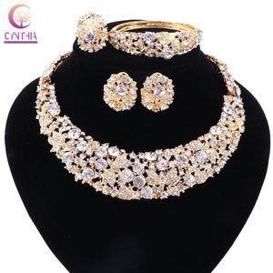 النساء مطلية بالذهب بوهو كريستال مجموعات مجوهرات مع أقراط بيع المباشر بيان قلادة لحزب الزفاف قلادة 2017