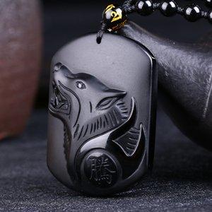 Natural preto obsidiana carving lobo cabeça amuleto pingente colar livre obsidian bênção sorte pingentes moda jóias