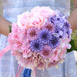 Vintage Yapay Düğün Buketleri 2019 Sıcak Satış Romantik Fransız Ortanca Dahlia Güller Gelin Buketi Çiçekler Farklı Düğün Çiçekleri