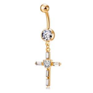 Christian Zirkon CZ Kruzifix Kreuz 4 Farben Erhältlich Gelbgold Farbe Piercing Körperschmuck Bauchnabel Ring für Frauen