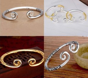 Authentic 925 Sterling Silver Open Bracelet Bangle Couples hoops Jewelry 69