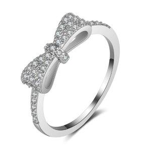 Anillo de bodas ¡Nueva llegada! 5X15mm mariposa diseño platino plateado o rosa bañado en oro Simulated Diamond Promise Rings para mujeres