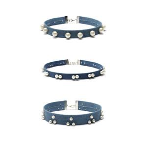 Heißer Verkauf Bunte Perlenkette Choker Jeans Halskette Choker für Frauen 2017 Diamant Choker Halsketten 1 Set = 3 Stück