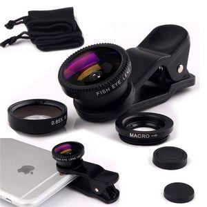 Universal 3 en 1 Clip ojo de pez teléfono inteligente lente de la cámara gran angular macro lente teléfono móvil Galaxy s7 s7edge s8 teléfono móvil ojo de pez lente