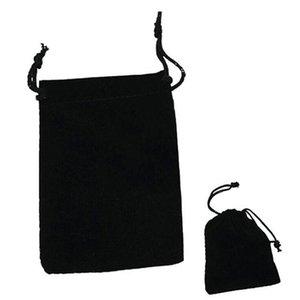 120pcs / lots schwarzer Samtbeutel, Schmuckbeutel, 7 * 9CM 9 * 12CM Perfekte Flanellettasche für Schmuck, Hochzeitsbevorzugungen und Geschenkverpackung