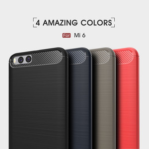 10 pcs phone bag casos para xiaomi mi6 fibra de carbono resistente à prova de choque armadura case para xiaomi mi6 2017 venda quente frete grátis