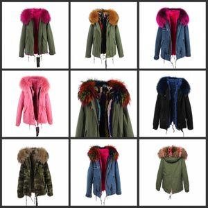 2017 nouvelle mode femmes de luxe grand raton laveur de haute qualité véritable manteau de col avec renard fourrure capot chaud veste d'hiver doublure parkas long top