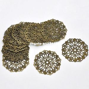 Doreen Box Lovely 50 Bronze Tone Filigree Flower Wraps Connettori per gioielli fai da te fare 35mm (B14745)