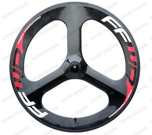 빠른 앞으로 700C 도로 자전거 트라이 스포크 탄소 바퀴 56 미리 메터 클린 처 고정 기어 휠 고품질 클린 처 시간 / 시험 자전거 휠
