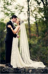 2,5 metros Uma camada de borda cheia com véu do casamento do lash do olho com pente elegante véu de noiva longa Velos de Novia