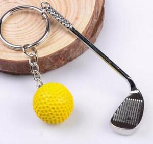 golf ball keychain golf ball rod keychain key chain Zinc Alloy Metal Ball Keyrings Golf Clubs Ring Key Fob rod