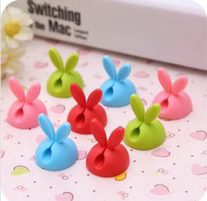 20sets Rabbit Ear Cable Winder Earphone Cable Organizer Cavo di immagazzinaggio del silicio Cavo caricabatterie Cavo avvolgicavo Clip per MP3