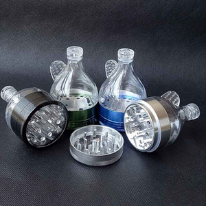 알루미늄 금속 깔때기 4 부분 4 색 담배 허브 향신료 분쇄기 핸드 크래커 뮬러 허브 분쇄기 흡연 도구 크리스마스 선물